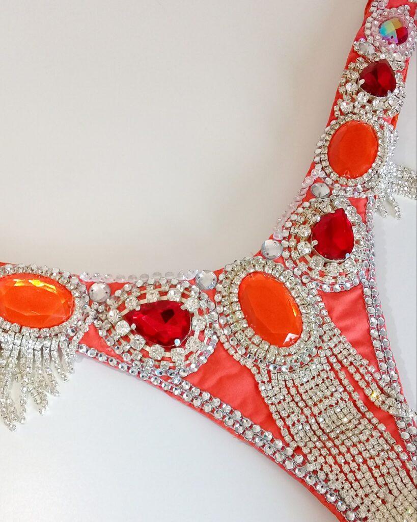 Bottom piece - red orange samba costume - Miss Glamurosa Costumes