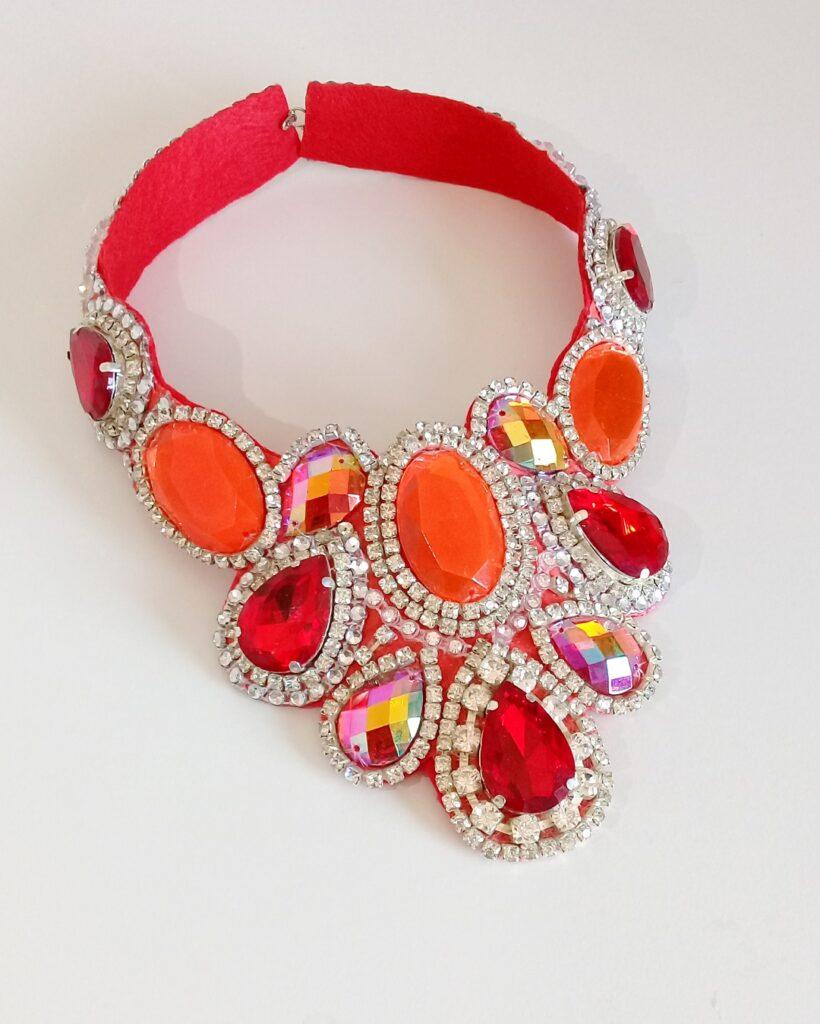 Necklace - red orange samba costume - Miss Glamurosa Costumes